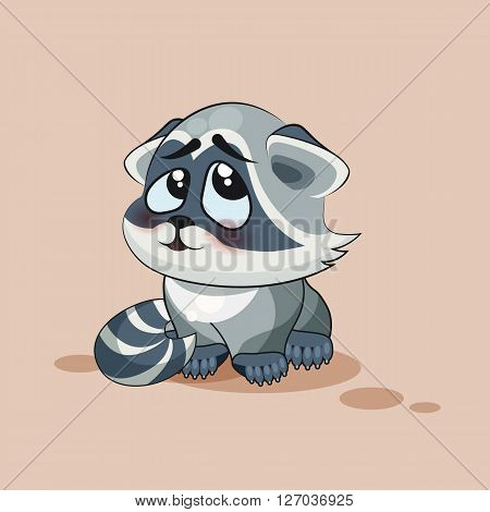 Vector Stock Illustration isolated Emoji character cartoon Raccoon cub embarrassed, shy and blushes sticker emoticon for site, info graphic, video, animation, websites, e-mail, newsletter, report, comic