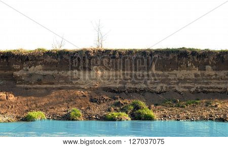 layer of soil beneath section. Close up