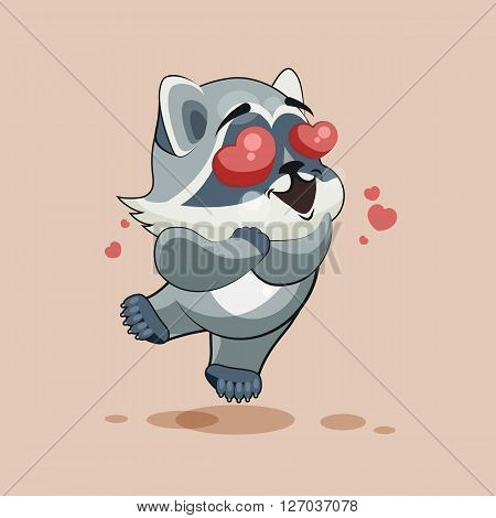 Vector Stock Illustration isolated Emoji character cartoon Raccoon cub in love flying with hearts sticker emoticon for site, info graphic, video, animation, websites, e-mails, newsletters, report, comic