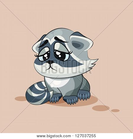 Vector Stock Illustration isolated Emoji character cartoon Raccoon cub sad and frustrated sticker emoticon for site, info graphic, video, animation, websites, e-mails, newsletters, reports, comics
