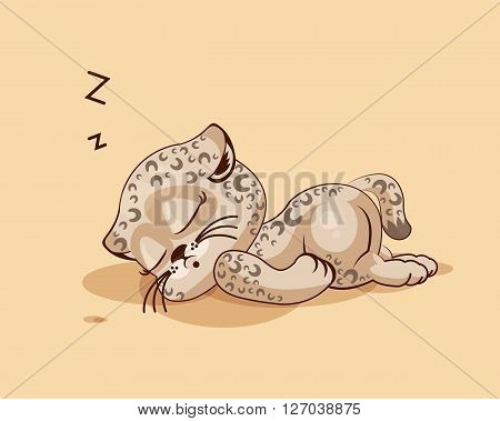 Vector Stock Illustration isolated Emoji character cartoon Leopard cub sleeps on the stomach sticker emoticon for site, info graphic, video, animation, websites, e-mails, newsletters, reports, comics