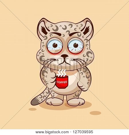 Vector Stock Illustration isolated Emoji character cartoon Leopard cub nervous with cup of coffee sticker emoticon for site, info graphic, video, animation, websites, e-mails, newsletters, report, comic