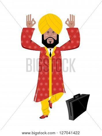 Hindu Meditating. Indian Businessman In Turban Standing On One Leg. Man From India In Turban And Nat