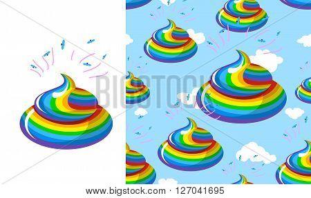 Shit Unicorn Pattern. Turd Rainbow Colors. Kal Rainbow Fantastic Beast. Stools Are Mythical Creature