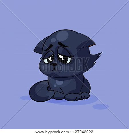 Vector Stock Illustration isolated Emoji character cartoon black cat sad and frustrated sticker emoticon for site, infographics, video, animation, websites, e-mails, newsletters, reports, comics