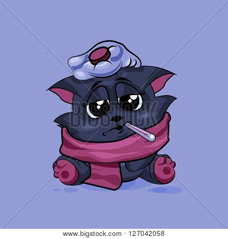 Vector Stock Illustration isolated Emoji character cartoon black cat sick with thermometer in mouth sticker emoticon for site, infographics, video, animation, websites, e-mails, newsletters, reports, comics