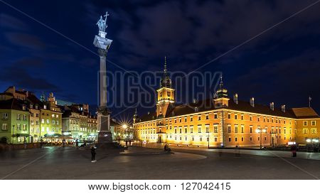 Square Castle and Sigismund's Column at night