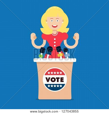 Young confident politician female standing by the podum and applose to the people. Fully vector illustration easy to edit. Flat hottest style.