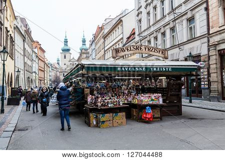 PRAGUE, CZECH REPUBLIC - FEBRUARY 13, 2015: View to the Market on a street in old town Prague on February 13, 2015. This is a famous and popular market.