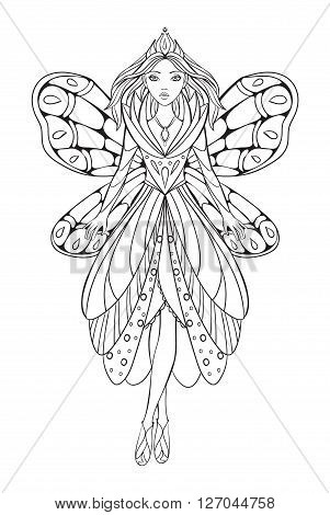 Vector illustration of a beautiful flower fairy queen for an adult coloring art therapy book. Unique and original fantasy character.