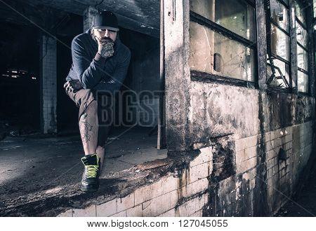 Man Portrait In Ruins