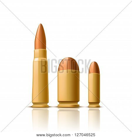 illustration of set of different bullets with shadows on white background
