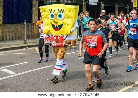 London United Kingdom - April 24 2016: London Marathon 2016. Runners in Funny costumes. SpongeBob SquarePants