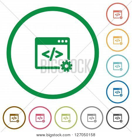 Set of Web development color round outlined flat icons on white background
