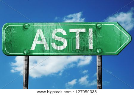 Asti road sign, on a blue sky background