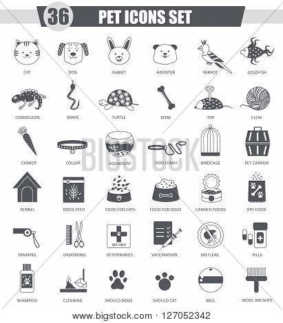 Vector Pet animal black icon set. Dark grey classic icon design for web