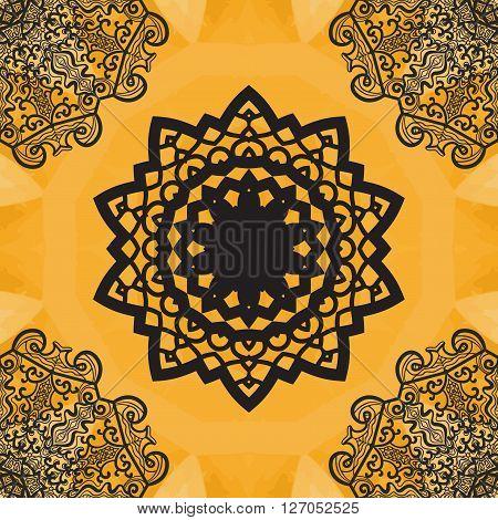 Elegant mandala-like seamless texture. Hand-drawn yoga yantra flower. Ornamental round seamless lace pattern. Abstract vector tribal ethnic native art imitation background, seamless pattern.