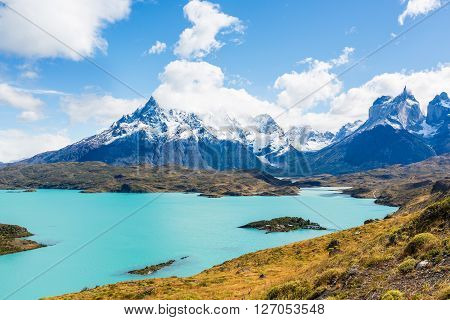 view of gorgeous lago pehoe in torres del paine national park patagonia chile
