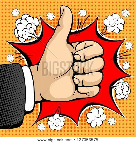 Male hand shows like sign. Like concept sign. I like that. Seal of approval. Pop art design concepts for web banners, web sites, printed materials. Vector illustration in retro style pop art.