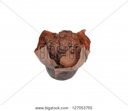 Chocolate muffin with small pieces of chocolate on the top on white background.