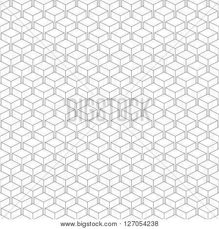 Seamless isometric pattern of cubes vector linear background of delicate lines black and white geometric contemporary ornament poster