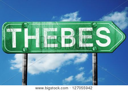 thebes road sign, on a blue sky background