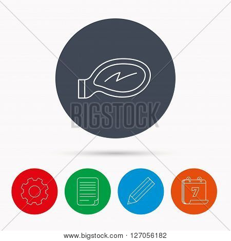 Car mirror icon. Driveway side view sign. Calendar, cogwheel, document file and pencil icons.