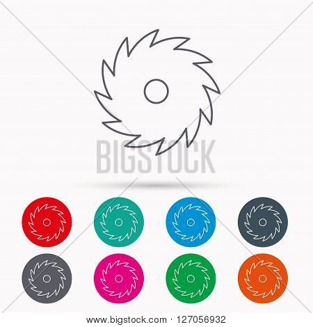 Circular saw icon. Cutting disk sign. Woodworking sawblade symbol. Linear icons in circles on white background.