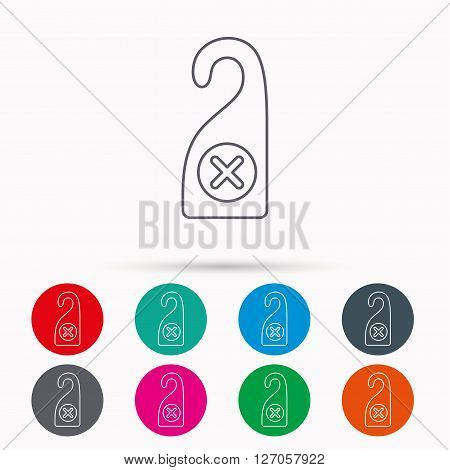 Do not disturb icon. Sleep door hanger sign. Hotel maid service symbol. Linear icons in circles on white background.