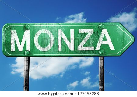 Monza road sign, on a blue sky background