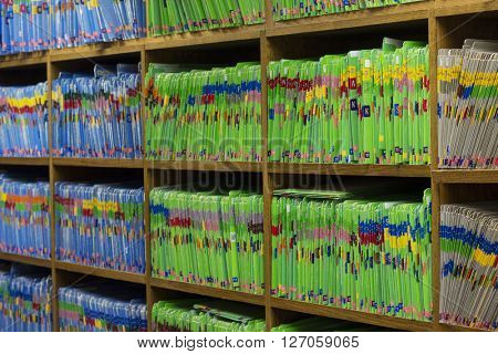 Medical or Dental patient files in medical or dental office