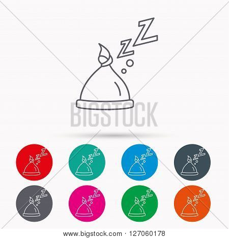 Baby hat with nodule icon. Newborn cap sign. Toddler sleeping clothes symbol. Linear icons in circles on white background.