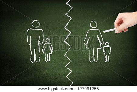 Divorce on blackboard
