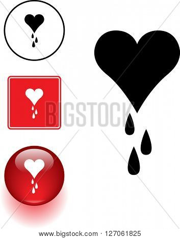 heart bleeding symbol sign and button