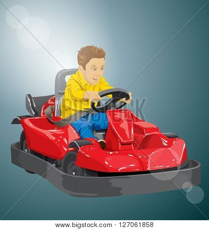 Vector illustration of boy driving go kart so happy about it