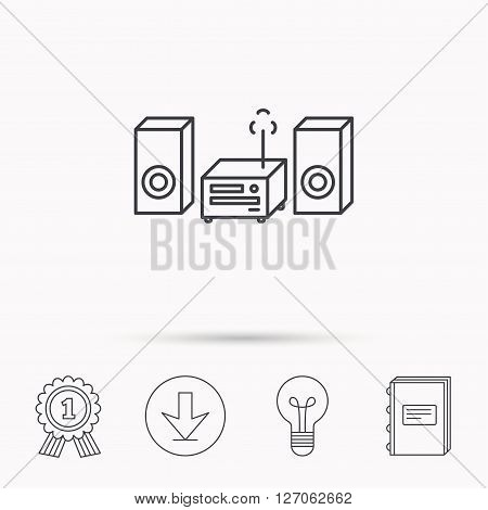 Music center icon. Stereo system sign. Download arrow, lamp, learn book and award medal icons.