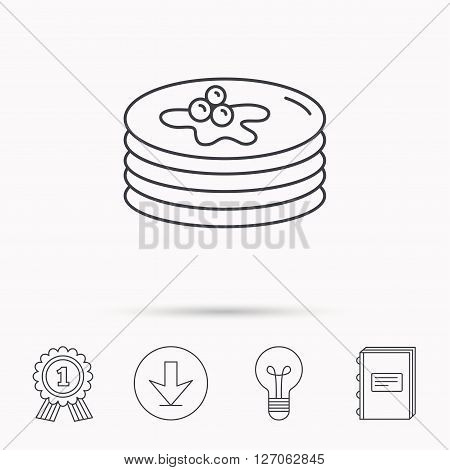 Pancakes icon. American breakfast sign. Food with maple syrup symbol. Download arrow, lamp, learn book and award medal icons.