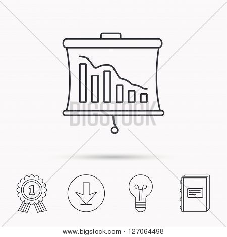Statistic icon. Presentation board sign. Defaulted chart symbol. Download arrow, lamp, learn book and award medal icons.