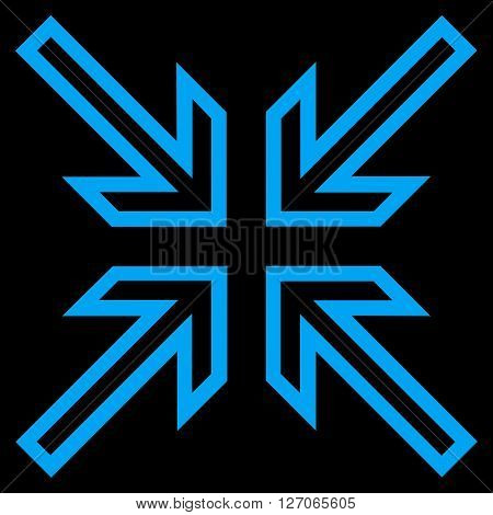 Implode Arrows vector icon. Style is thin line icon symbol, blue color, black background.