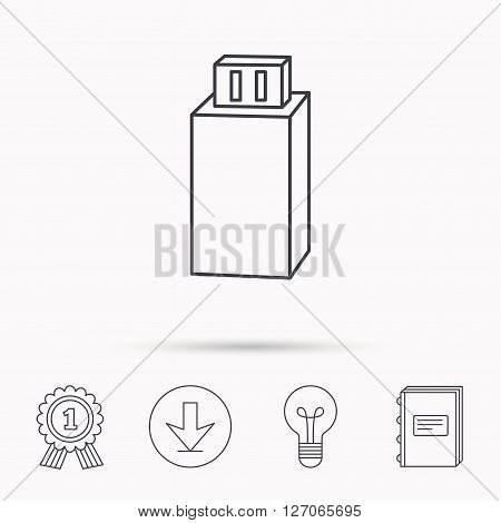 USB drive icon. Flash stick sign. Mobile data storage symbol. Download arrow, lamp, learn book and award medal icons.