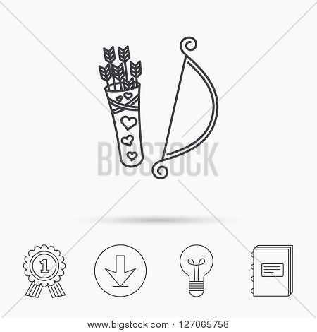Amour arrows with bow icon. Cupid love symbol. Download arrow, lamp, learn book and award medal icons.