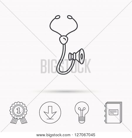 Stethoscope icon. Medical doctor equipment sign. Pulmology symbol. Download arrow, lamp, learn book and award medal icons.