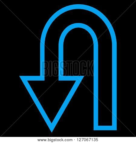 Turn Back vector icon. Style is thin line icon symbol, blue color, black background.