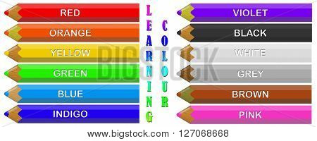Illustration of coloured crayons labelled with their colours to aid learning