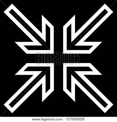 Implode Arrows vector icon. Style is outline icon symbol, white color, black background.