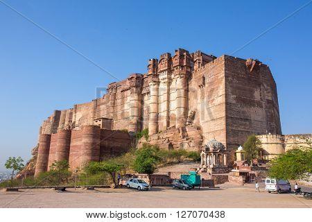 Mehrangarh fort on the hill in Jodhpur, Rajasthan, India