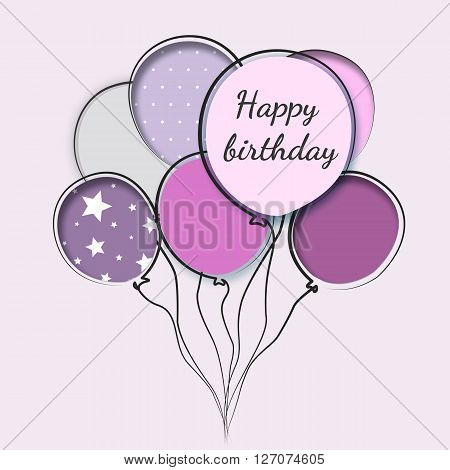 Greeting card with balloons birthday of woman