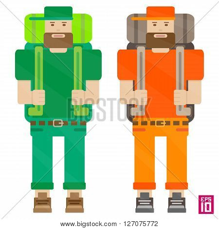 Vector orenge and green travellers characters with backpacks and beards.