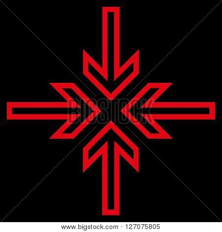 Implode Arrows vector icon. Style is thin line icon symbol, red color, black background.