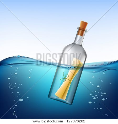 Glass bottle with message floats in the water. Stock vector illustration.